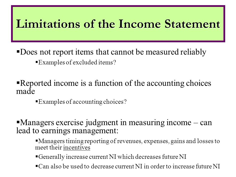 Examples:  Dell  Enron  Worldcom The Income Statement – Earnings Management
