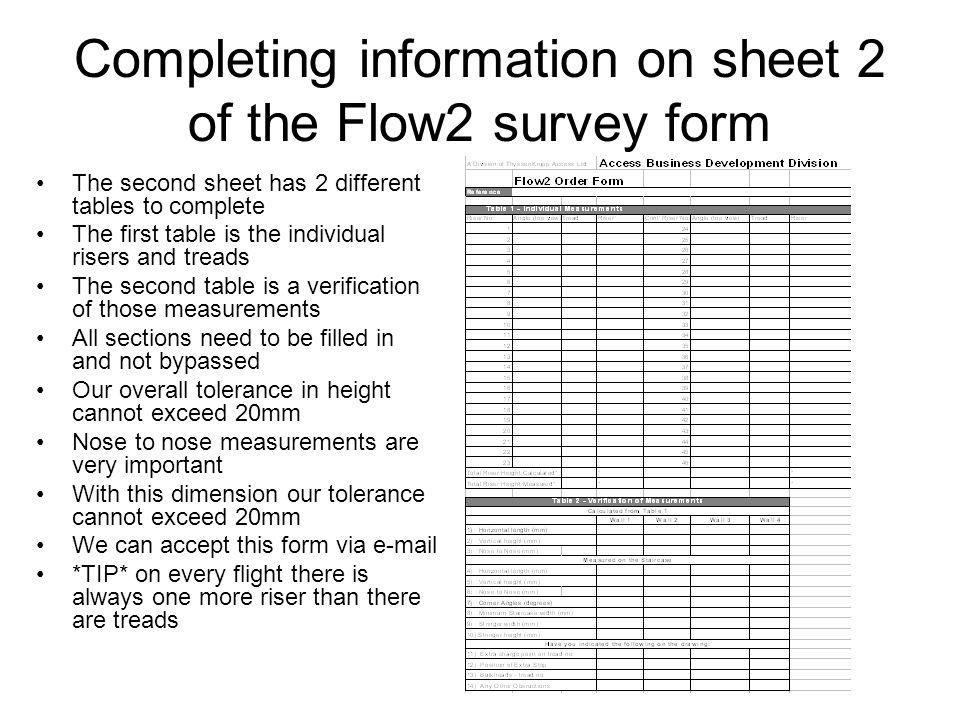 Completing information on sheet 2 of the Flow2 survey form The second sheet has 2 different tables to complete The first table is the individual riser