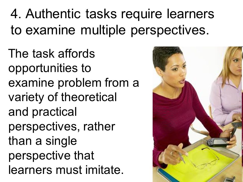20 The task affords opportunities to examine problem from a variety of theoretical and practical perspectives, rather than a single perspective that learners must imitate.