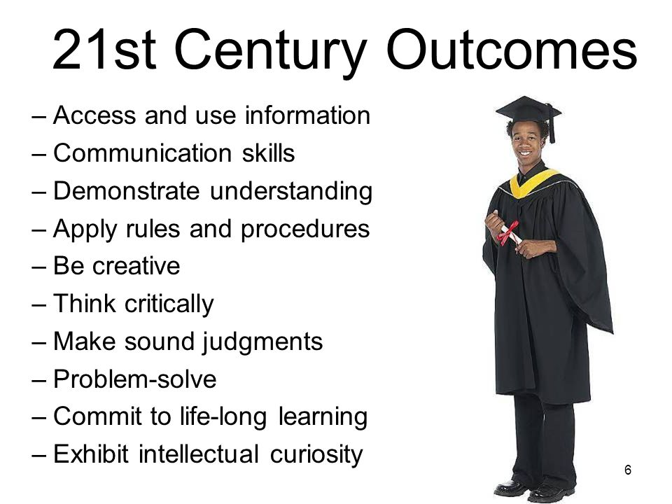 6 21st Century Outcomes –Access and use information –Communication skills –Demonstrate understanding –Apply rules and procedures –Be creative –Think critically –Make sound judgments –Problem-solve –Commit to life-long learning –Exhibit intellectual curiosity