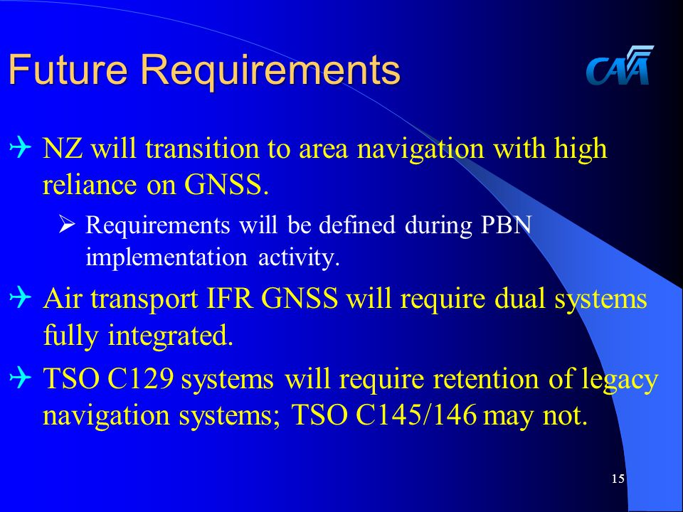 Future Requirements  NZ will transition to area navigation with high reliance on GNSS.