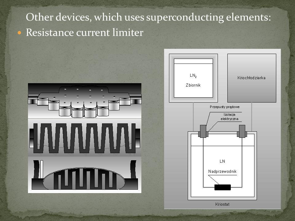 Other devices, which uses superconducting elements: Resistance current limiter