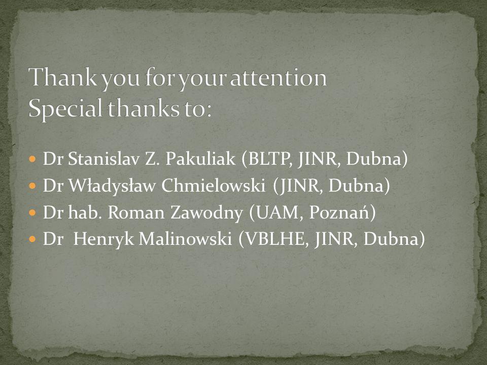 Dr Stanislav Z. Pakuliak (BLTP, JINR, Dubna) Dr Władysław Chmielowski (JINR, Dubna) Dr hab.
