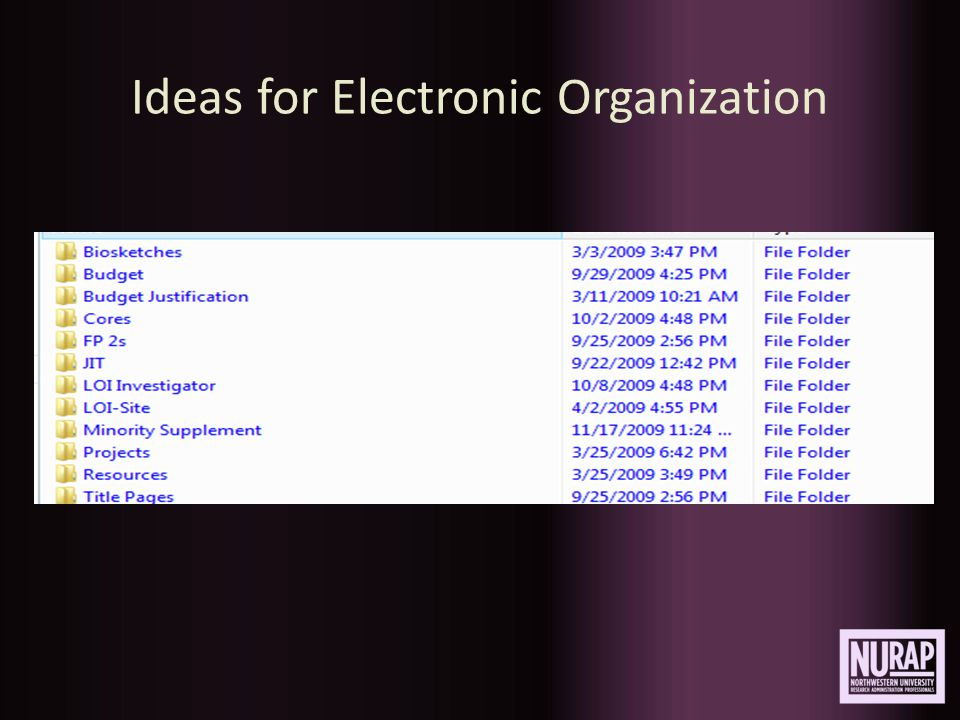 Ideas for Electronic Organization