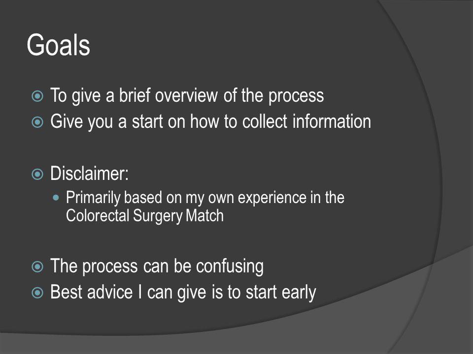 Goals  To give a brief overview of the process  Give you a start on how to collect information  Disclaimer: Primarily based on my own experience in the Colorectal Surgery Match  The process can be confusing  Best advice I can give is to start early