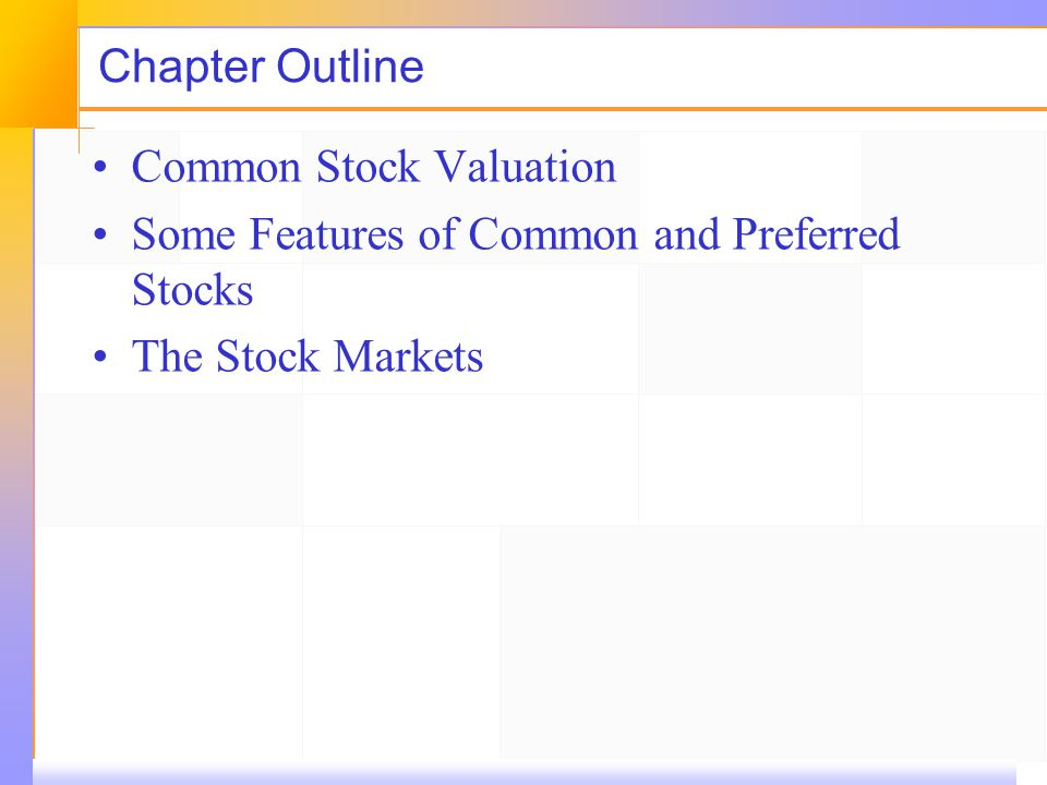 Chapter Outline Common Stock Valuation Some Features of Common and Preferred Stocks The Stock Markets
