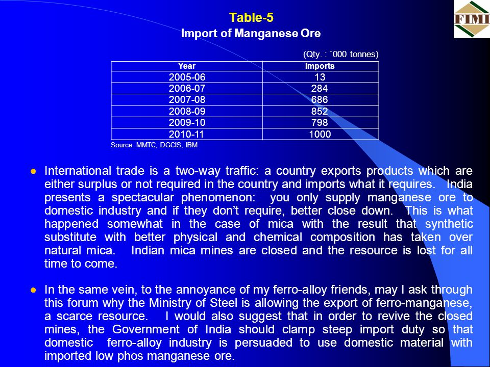 Table-5 Import of Manganese Ore (Qty. : `000 tonnes) Source: MMTC, DGCIS, IBM ●International trade is a two-way traffic: a country exports products wh