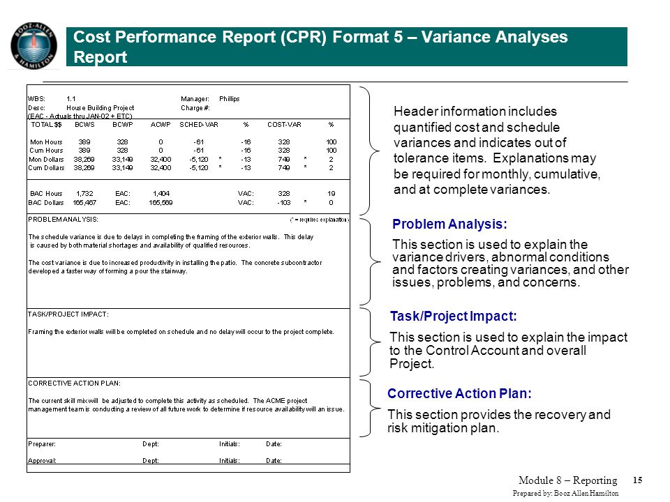 15 Prepared by: Booz Allen Hamilton Module 8 – Reporting Cost Performance Report (CPR) Format 5 – Variance Analyses Report Header information includes