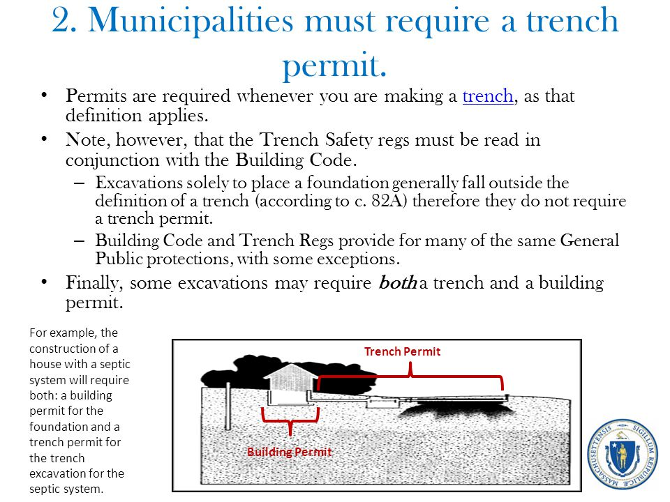 2. Municipalities must require a trench permit. Permits are required whenever you are making a trench, as that definition applies.trench Note, however
