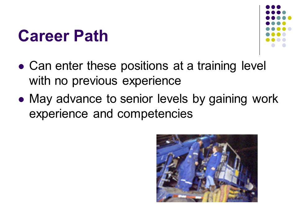Career Path Can enter these positions at a training level with no previous experience May advance to senior levels by gaining work experience and comp