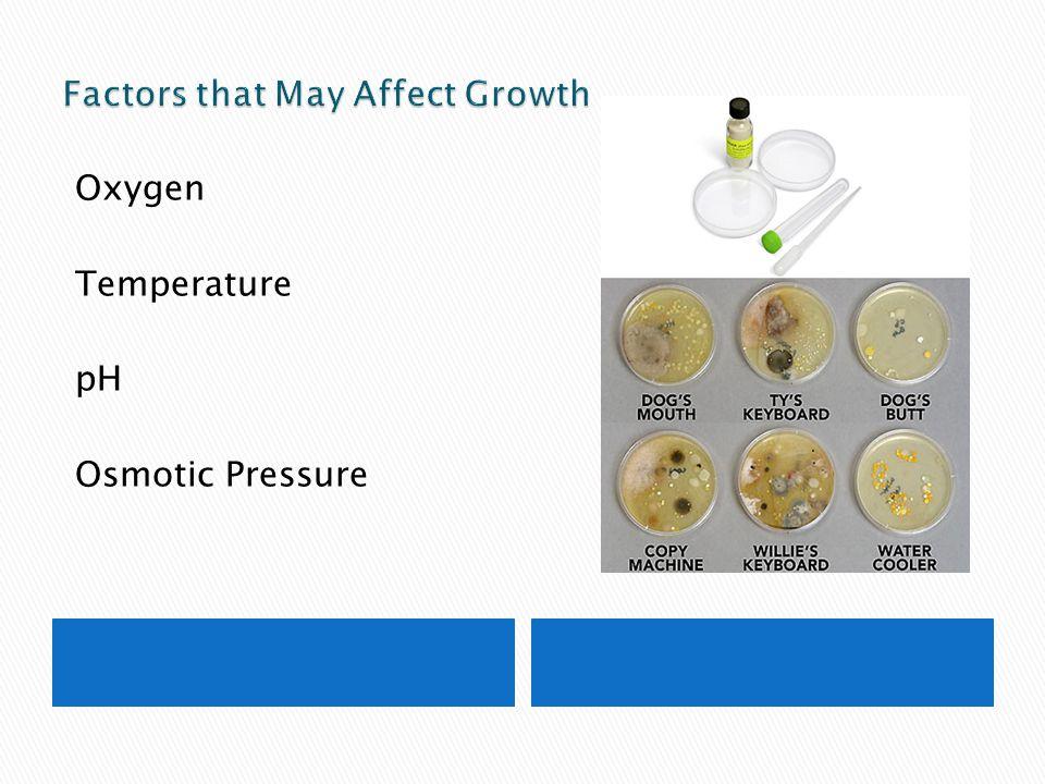 Oxygen Temperature pH Osmotic Pressure