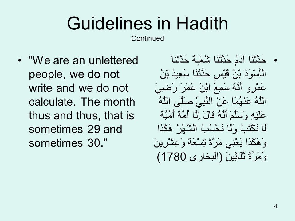 4 Guidelines in Hadith Continued We are an unlettered people, we do not write and we do not calculate.