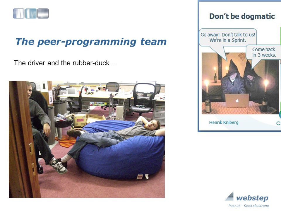 The peer-programming team Pust ut – Senk skuldrene The driver and the rubber-duck…