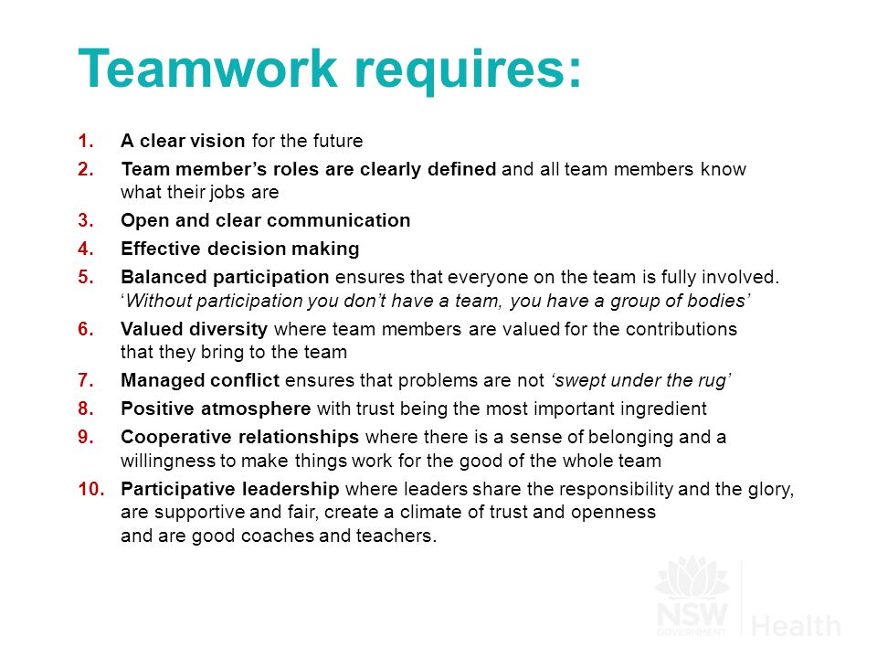 Teamwork requires: 1.A clear vision for the future 2.Team member's roles are clearly defined and all team members know what their jobs are 3.Open and clear communication 4.Effective decision making 5.Balanced participation ensures that everyone on the team is fully involved.