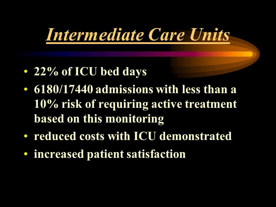 Intermediate Care Units 22% of ICU bed days 6180/17440 admissions with less than a 10% risk of requiring active treatment based on this monitoring red