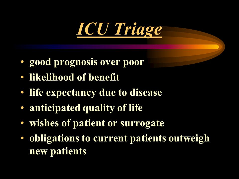 ICU Triage good prognosis over poor likelihood of benefit life expectancy due to disease anticipated quality of life wishes of patient or surrogate ob