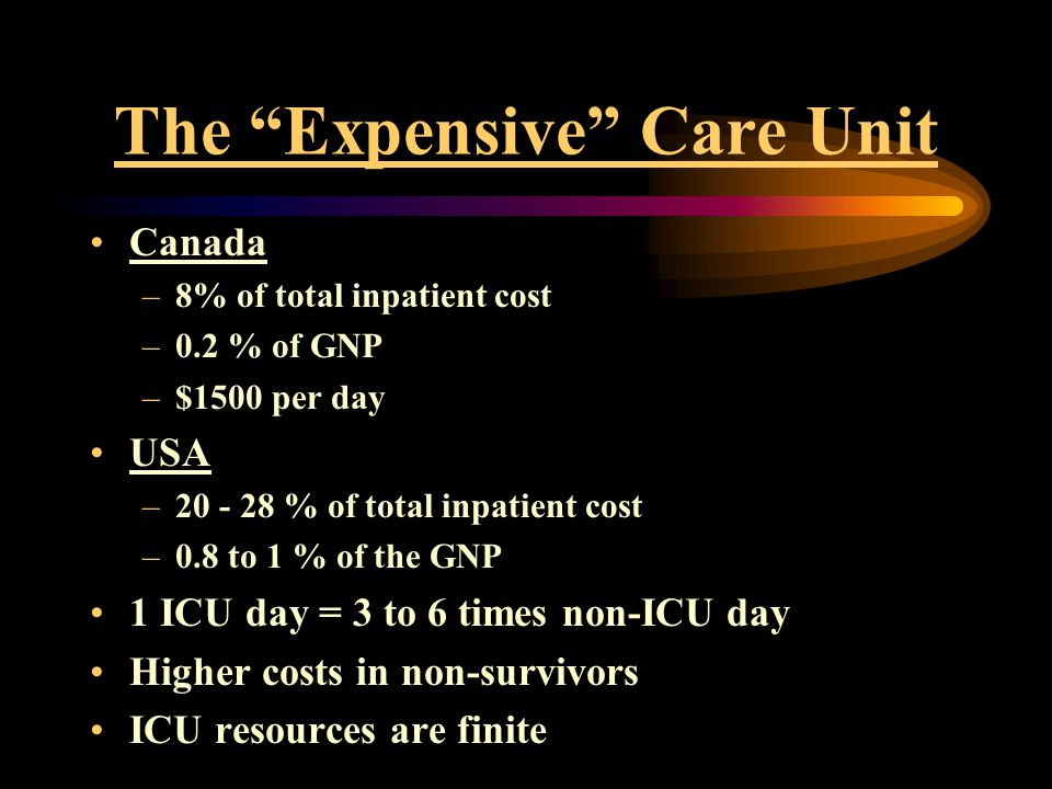 "The ""Expensive"" Care Unit Canada –8% of total inpatient cost –0.2 % of GNP –$1500 per day USA –20 - 28 % of total inpatient cost –0.8 to 1 % of the GN"