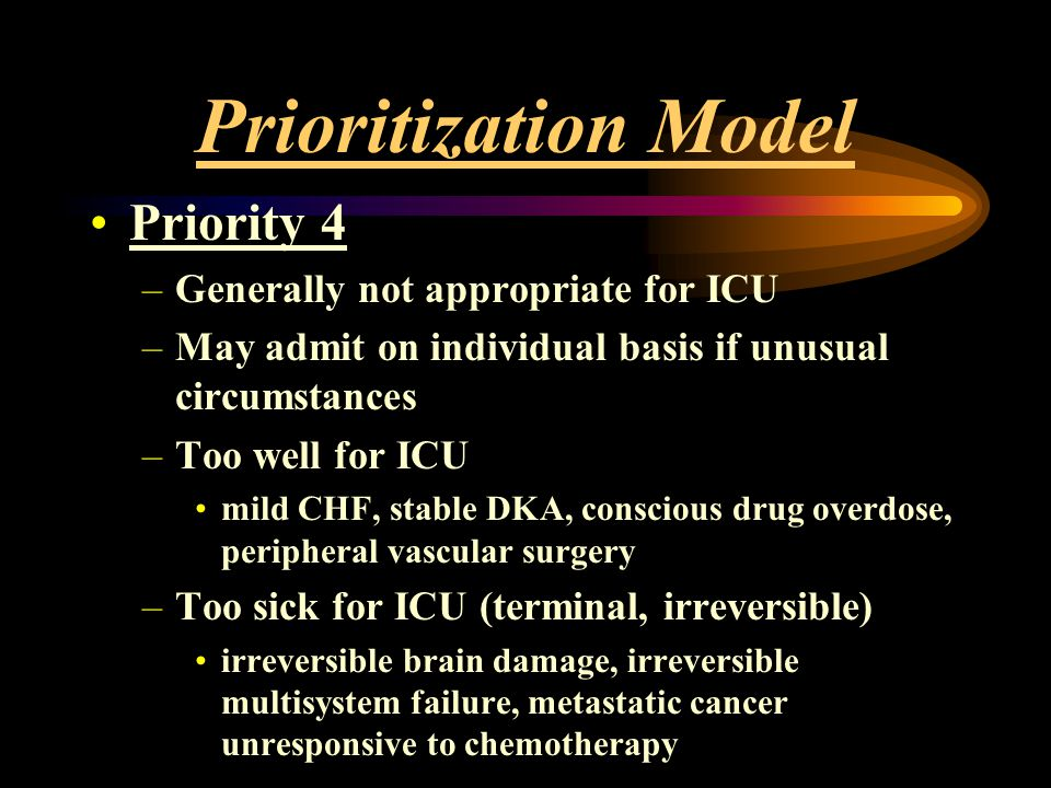 Prioritization Model Priority 4 –Generally not appropriate for ICU –May admit on individual basis if unusual circumstances –Too well for ICU mild CHF,