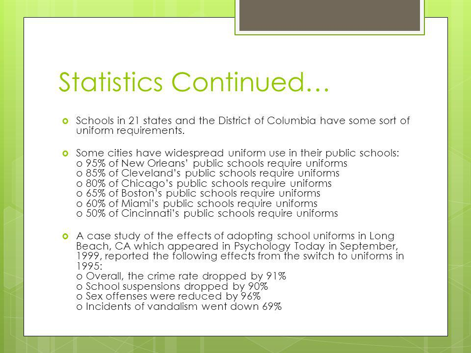 Statistics Continued…  Schools in 21 states and the District of Columbia have some sort of uniform requirements.