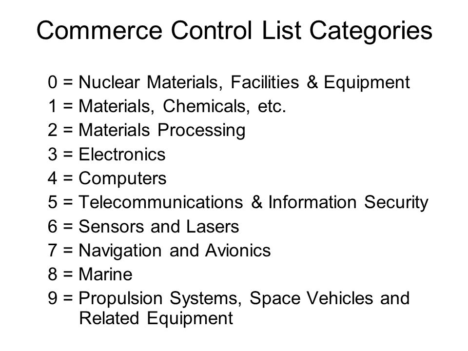 The Commerce Control List is Subdivided into Product Groups A.Systems, Equipment and Components B.Test, Inspection and Production Equipment C.Materials D.Software E.Technology
