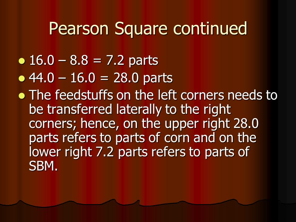 Pearson Square continued 16.0 – 8.8 = 7.2 parts 16.0 – 8.8 = 7.2 parts 44.0 – 16.0 = 28.0 parts 44.0 – 16.0 = 28.0 parts The feedstuffs on the left co