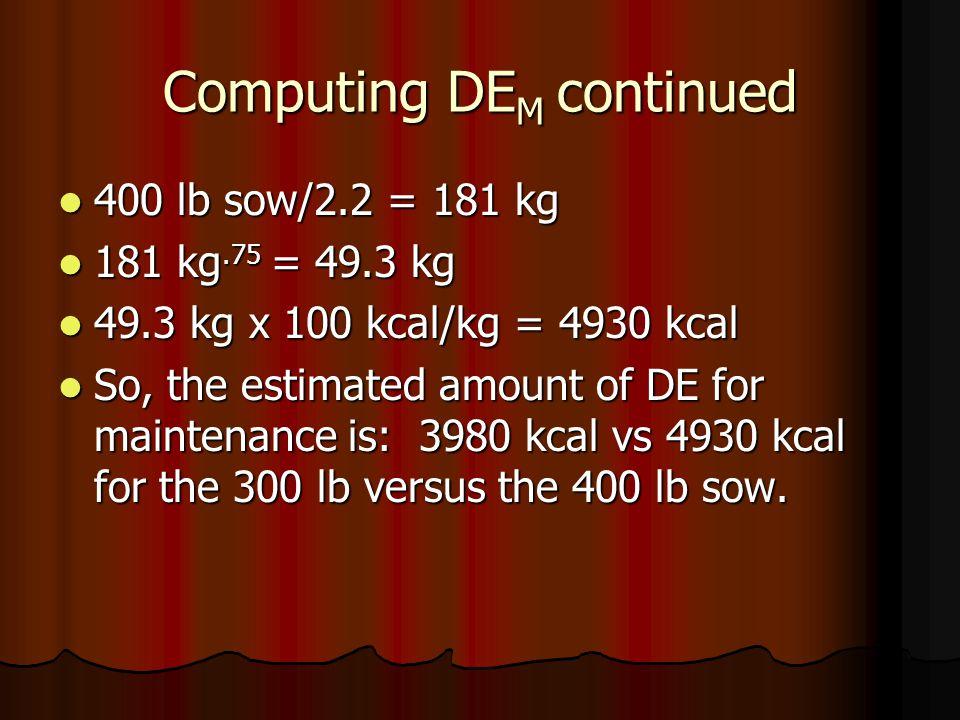 Computing DE M continued 400 lb sow/2.2 = 181 kg 400 lb sow/2.2 = 181 kg 181 kg.75 = 49.3 kg 181 kg.75 = 49.3 kg 49.3 kg x 100 kcal/kg = 4930 kcal 49.3 kg x 100 kcal/kg = 4930 kcal So, the estimated amount of DE for maintenance is: 3980 kcal vs 4930 kcal for the 300 lb versus the 400 lb sow.