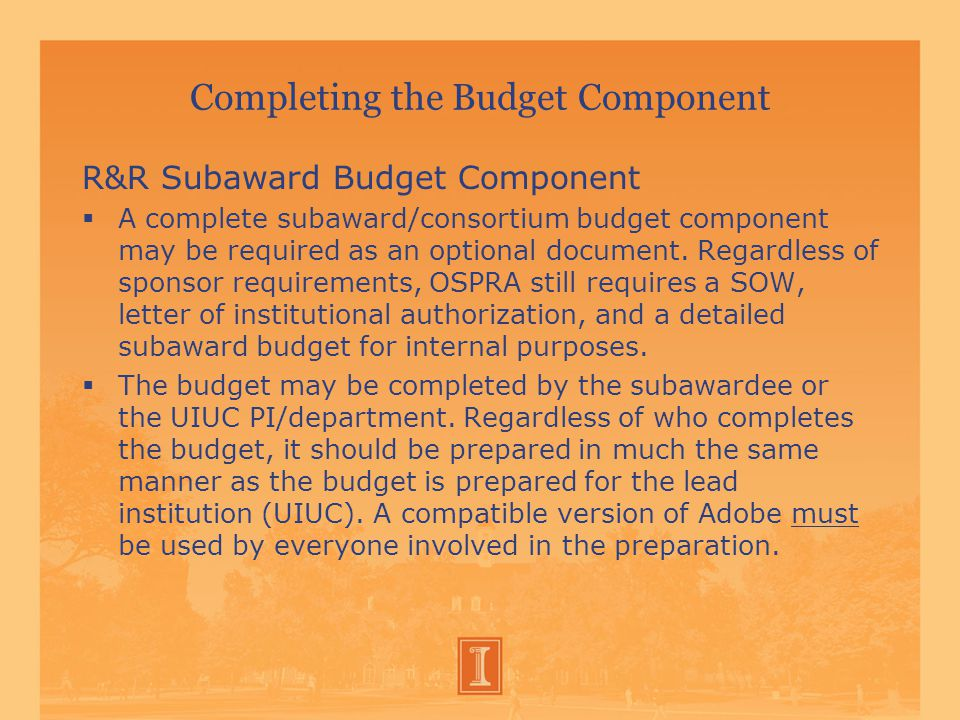 Completing the Budget Component R&R Subaward Budget Component  A complete subaward/consortium budget component may be required as an optional document.