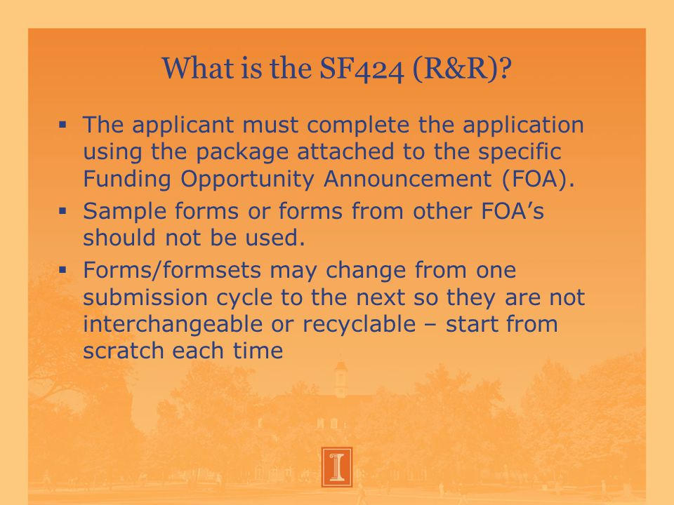 What is the SF424 (R&R).