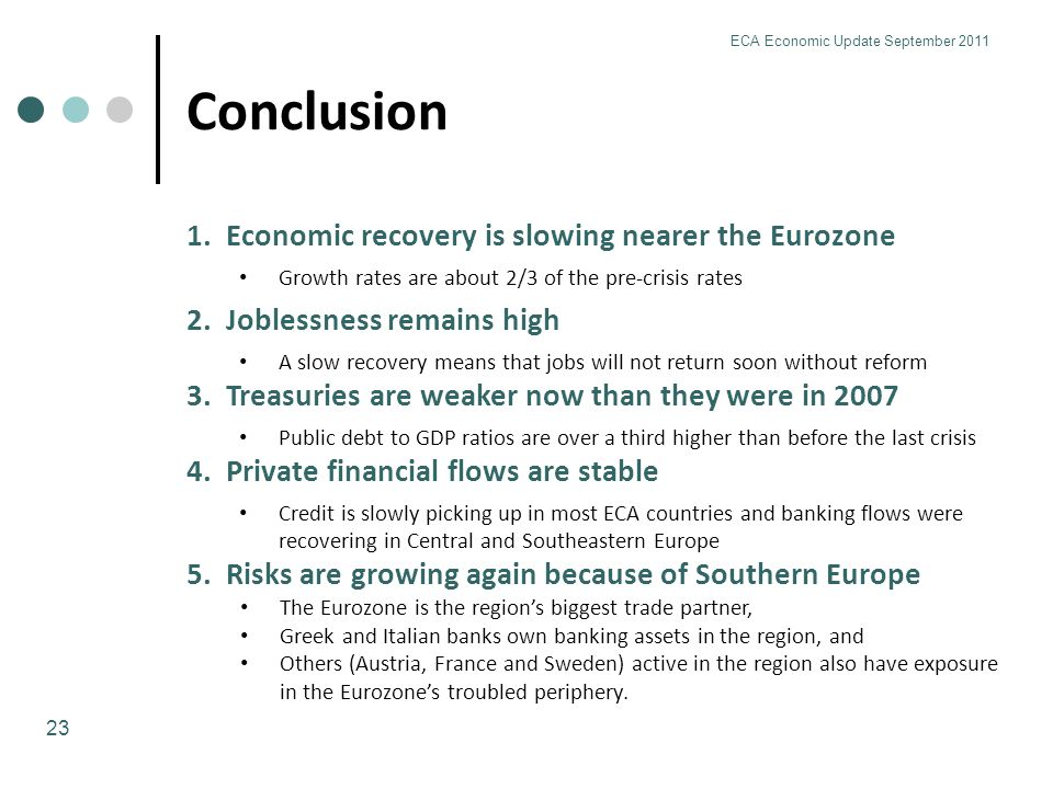 Conclusion 23 ECA Economic Update September 2011 1.Economic recovery is slowing nearer the Eurozone Growth rates are about 2/3 of the pre-crisis rates 2.Joblessness remains high A slow recovery means that jobs will not return soon without reform 3.Treasuries are weaker now than they were in 2007 Public debt to GDP ratios are over a third higher than before the last crisis 4.Private financial flows are stable Credit is slowly picking up in most ECA countries and banking flows were recovering in Central and Southeastern Europe 5.Risks are growing again because of Southern Europe The Eurozone is the region's biggest trade partner, Greek and Italian banks own banking assets in the region, and Others (Austria, France and Sweden) active in the region also have exposure in the Eurozone's troubled periphery.