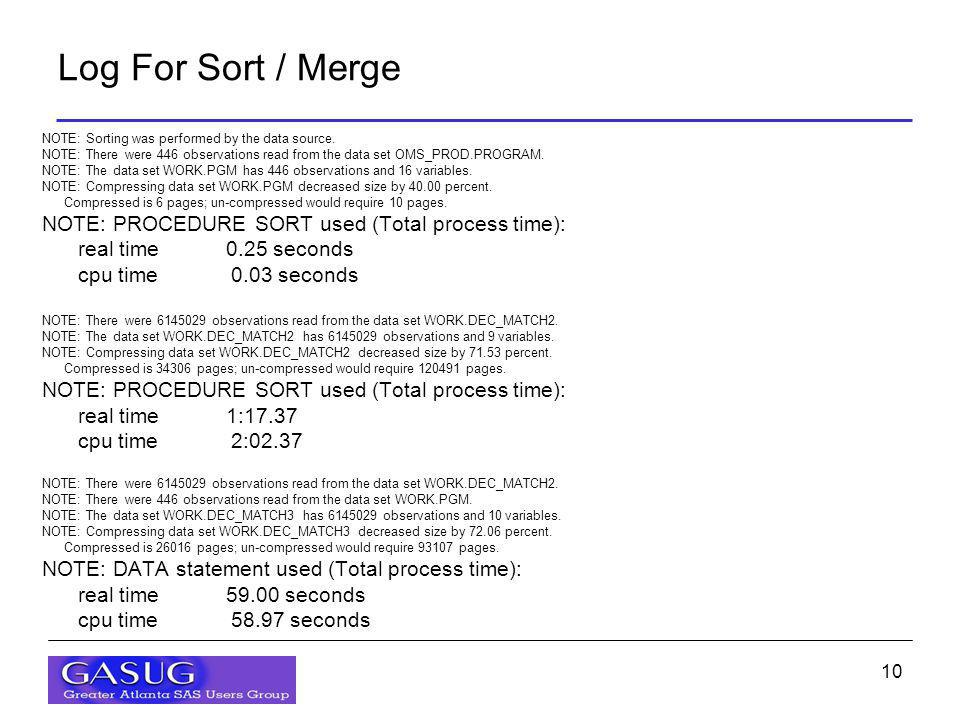 10 Log For Sort / Merge NOTE: Sorting was performed by the data source. NOTE: There were 446 observations read from the data set OMS_PROD.PROGRAM. NOT