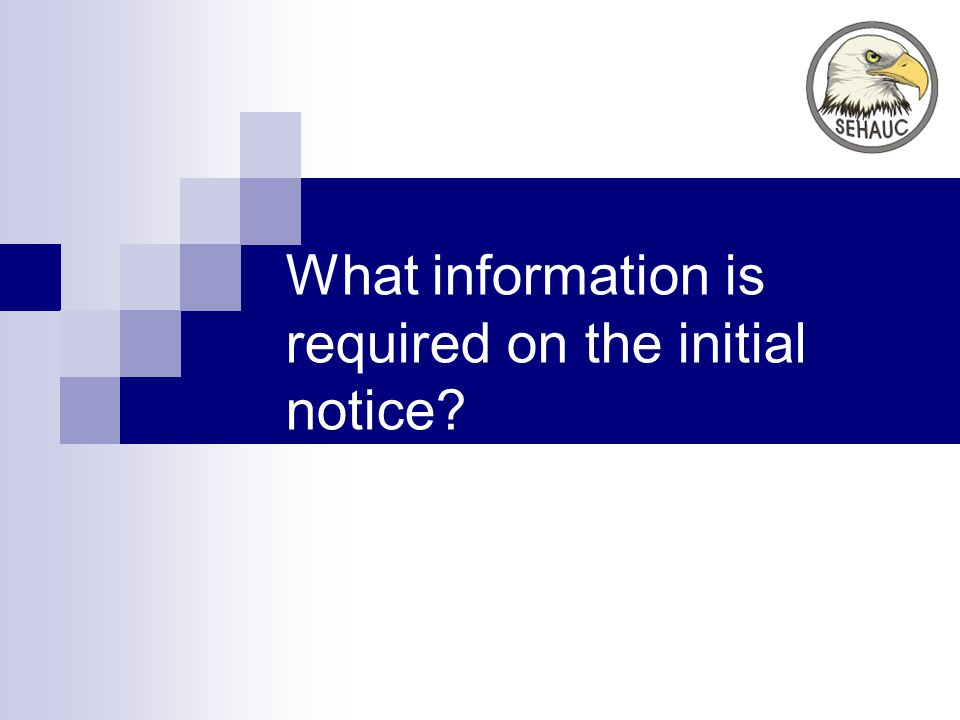 What information is required on the initial notice?