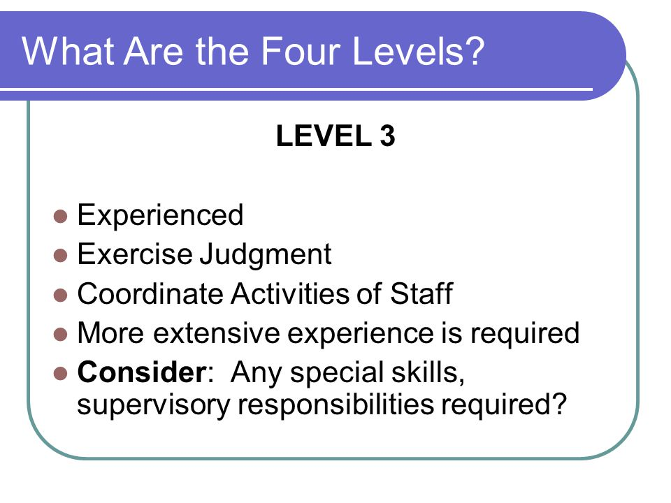 What Are the Four Levels.