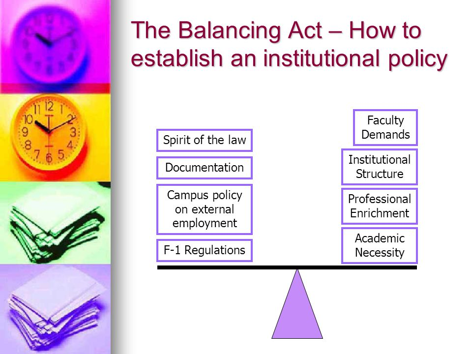 The Balancing Act – How to establish an institutional policy F-1 Regulations Academic Necessity Faculty Demands Documentation Professional Enrichment Campus policy on external employment Spirit of the law Institutional Structure