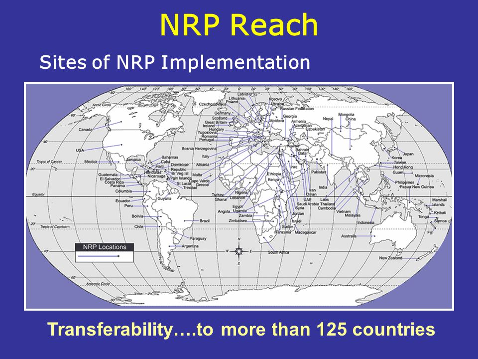 NRP Reach Transferability….to more than 125 countries Sites of NRP Implementation