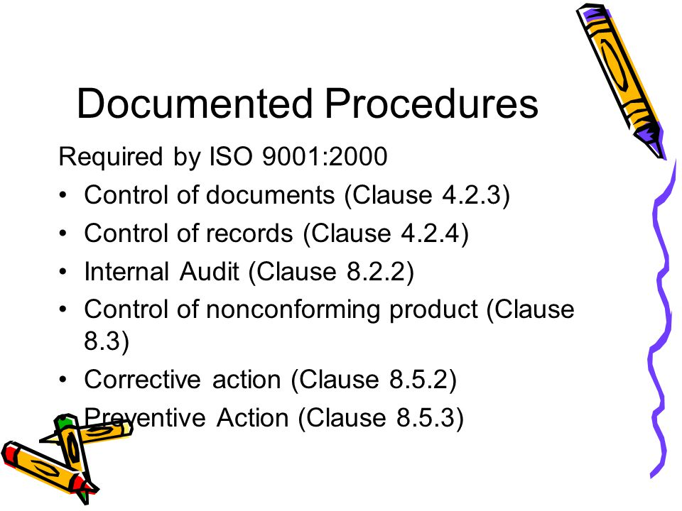 Documented Procedures Required by ISO 9001:2000 Control of documents (Clause 4.2.3) Control of records (Clause 4.2.4) Internal Audit (Clause 8.2.2) Co