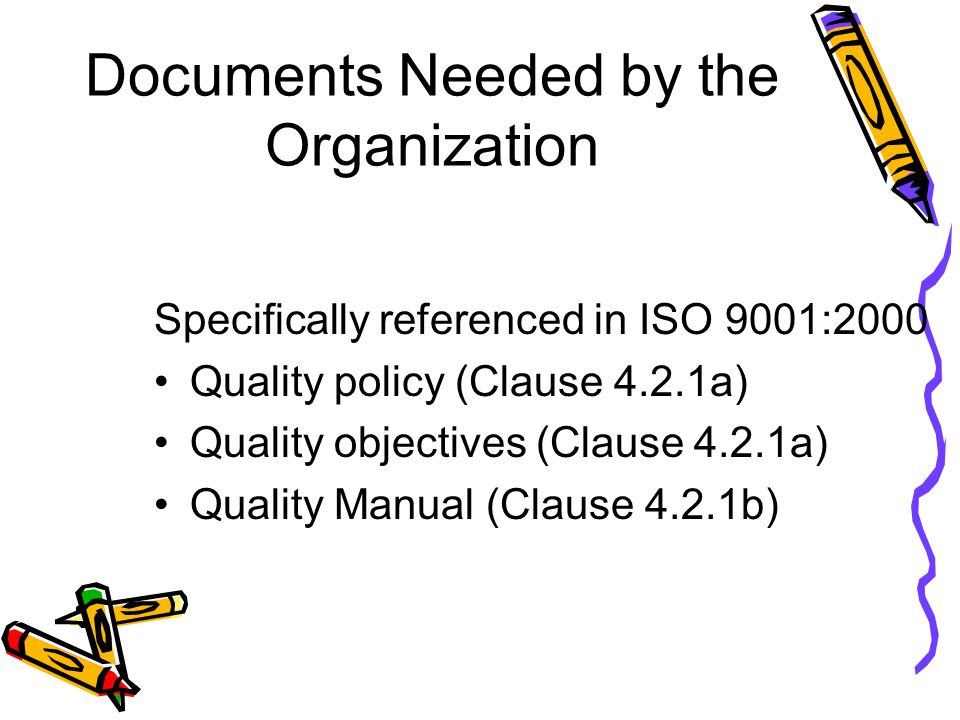 Documents Needed by the Organization Specifically referenced in ISO 9001:2000 Quality policy (Clause 4.2.1a) Quality objectives (Clause 4.2.1a) Qualit