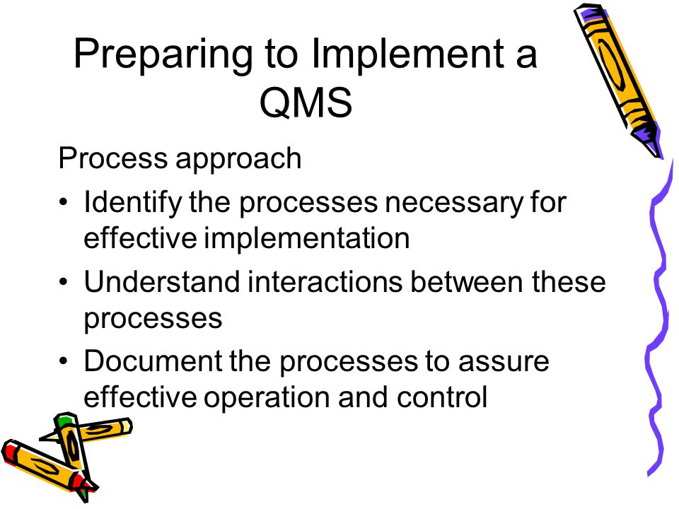 Preparing to Implement a QMS Process approach Identify the processes necessary for effective implementation Understand interactions between these processes Document the processes to assure effective operation and control
