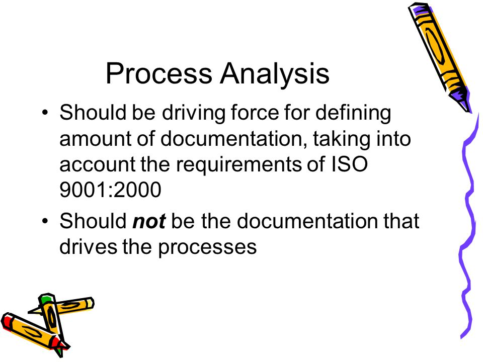 Process Analysis Should be driving force for defining amount of documentation, taking into account the requirements of ISO 9001:2000 Should not be the documentation that drives the processes