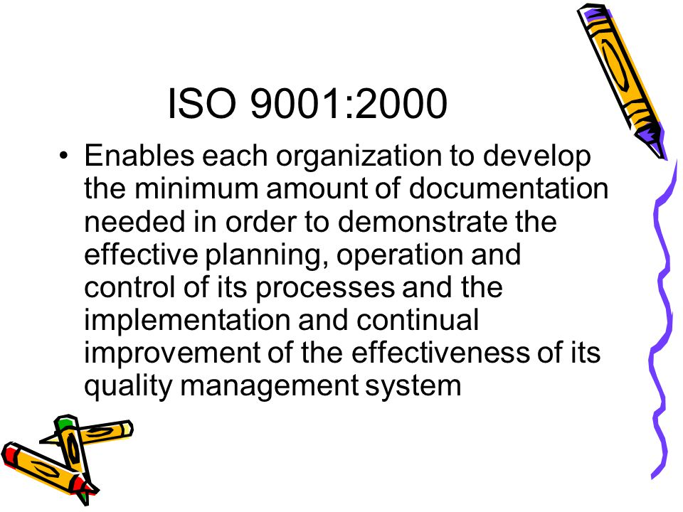 ISO 9001:2000 Enables each organization to develop the minimum amount of documentation needed in order to demonstrate the effective planning, operation and control of its processes and the implementation and continual improvement of the effectiveness of its quality management system