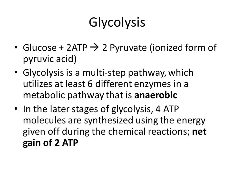 Glycolysis Glucose + 2ATP  2 Pyruvate (ionized form of pyruvic acid) Glycolysis is a multi-step pathway, which utilizes at least 6 different enzymes