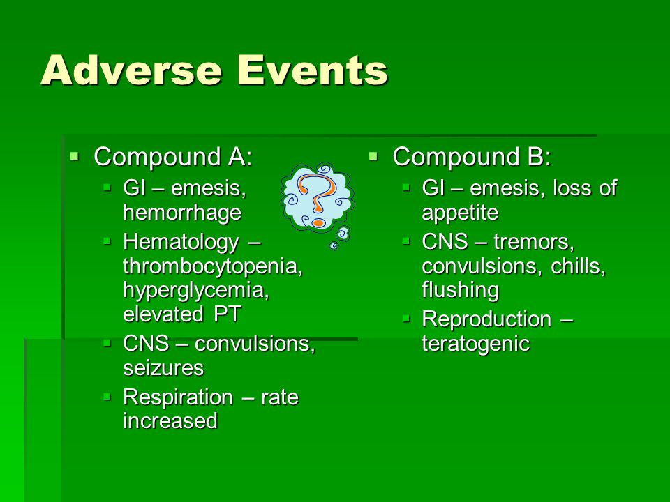 Adverse Events  Compound A:  GI – emesis, hemorrhage  Hematology – thrombocytopenia, hyperglycemia, elevated PT  CNS – convulsions, seizures  Respiration – rate increased  Compound B:  GI – emesis, loss of appetite  CNS – tremors, convulsions, chills, flushing  Reproduction – teratogenic