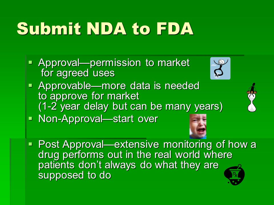 Submit NDA to FDA  Approval—permission to market for agreed uses  Approvable—more data is needed to approve for market (1-2 year delay but can be many years)  Non-Approval—start over  Post Approval—extensive monitoring of how a drug performs out in the real world where patients don't always do what they are supposed to do