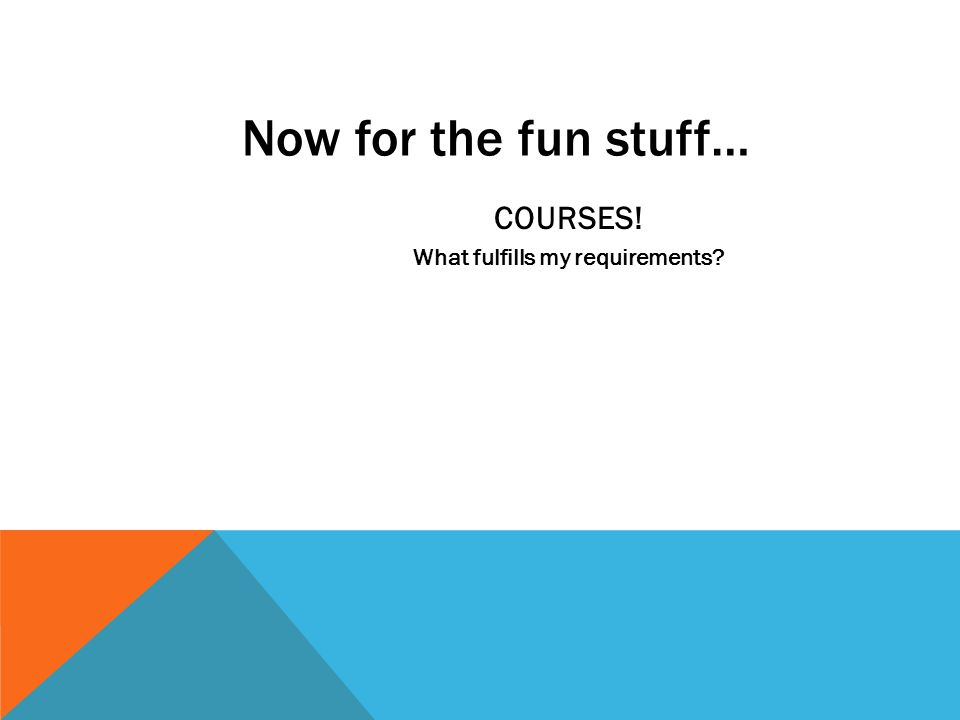 Now for the fun stuff… COURSES! What fulfills my requirements