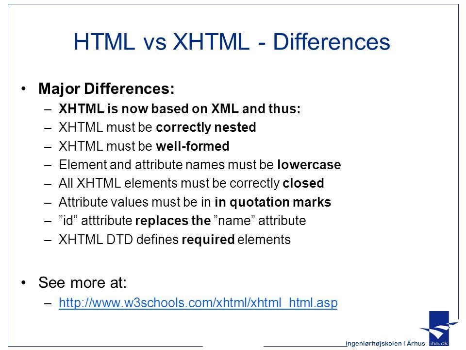 Ingeniørhøjskolen i Århus Structure of an XHTML document All XHTML documents must have a DOCTYPE declaration.