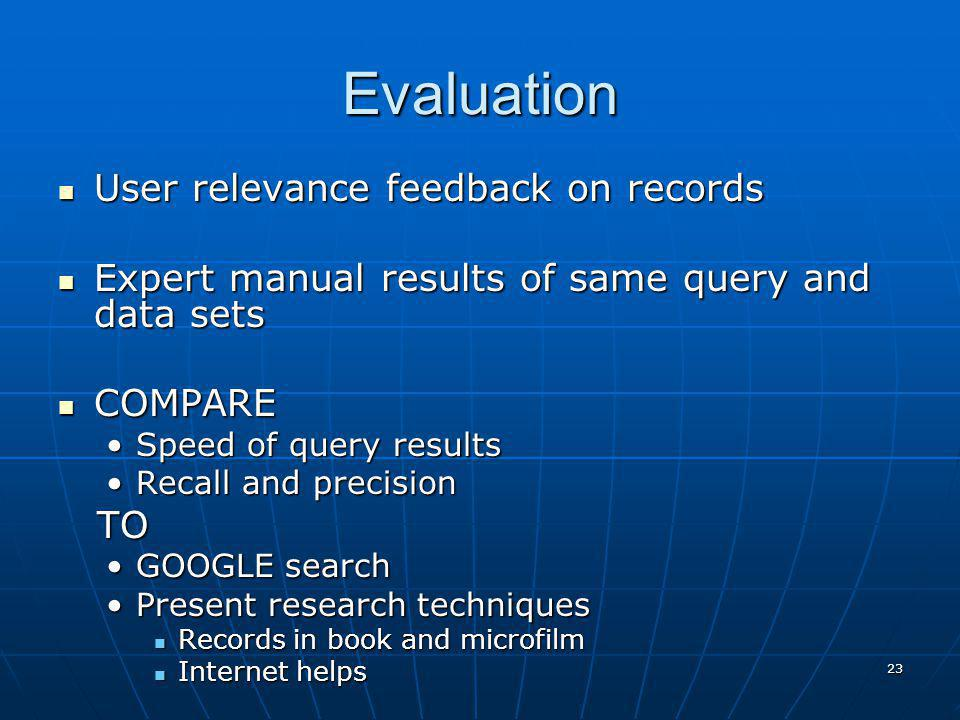 23 Evaluation User relevance feedback on records User relevance feedback on records Expert manual results of same query and data sets Expert manual re