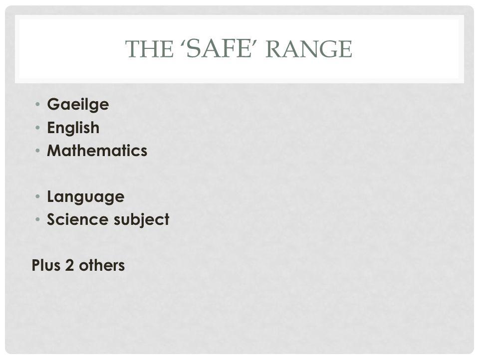 THE ' SAFE ' RANGE Gaeilge English Mathematics Language Science subject Plus 2 others