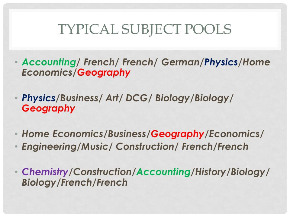 TYPICAL SUBJECT POOLS Accounting/ French/ French/ German/Physics/Home Economics/Geography Physics/Business/ Art/ DCG/ Biology/Biology/ Geography Home Economics/Business/Geography/Economics/ Engineering/Music/ Construction/ French/French Chemistry/Construction/Accounting/History/Biology/ Biology/French/French