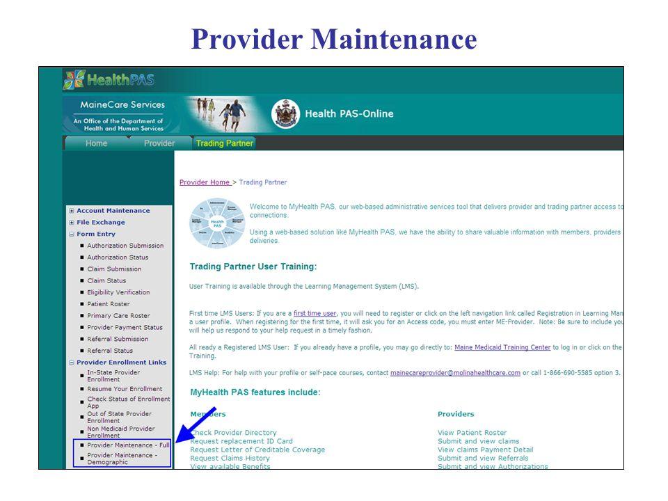 Provider Maintenance