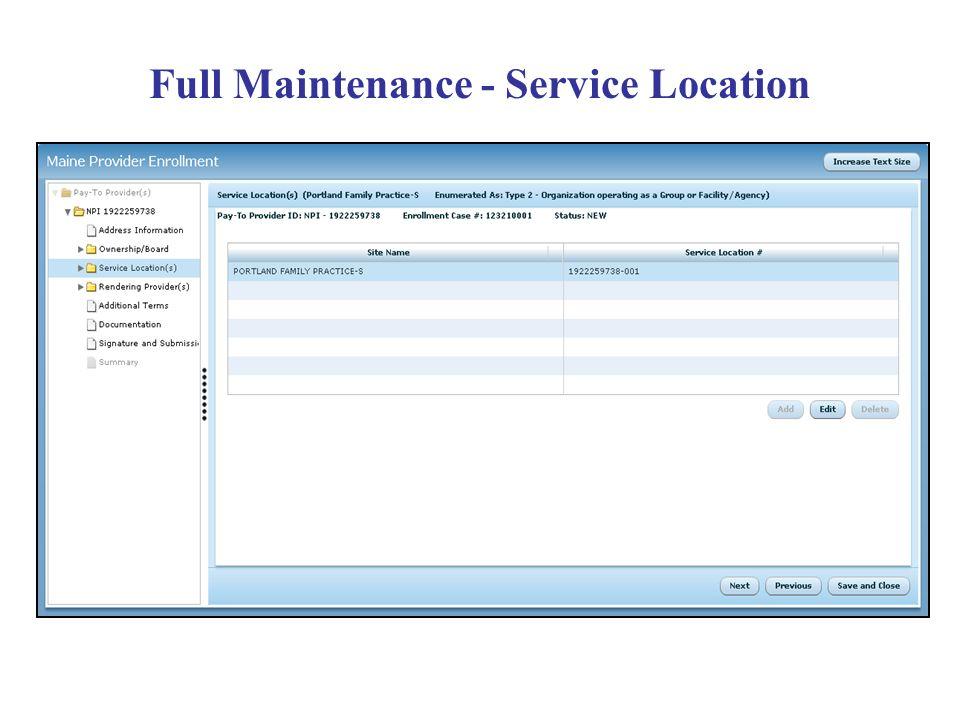 Full Maintenance - Service Location