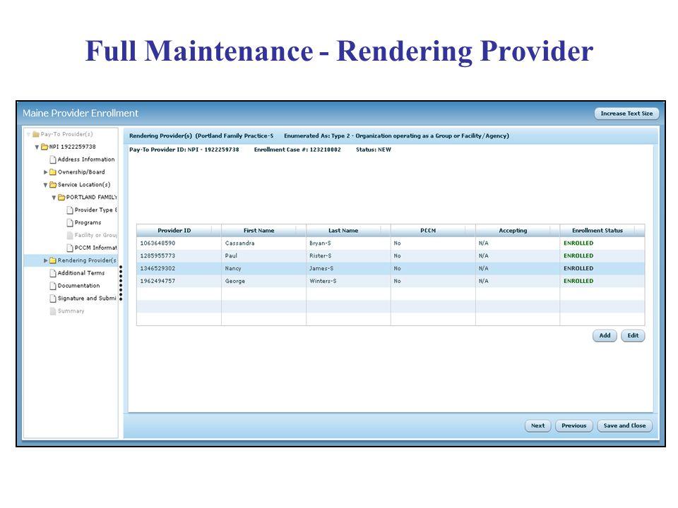 Full Maintenance - Rendering Provider